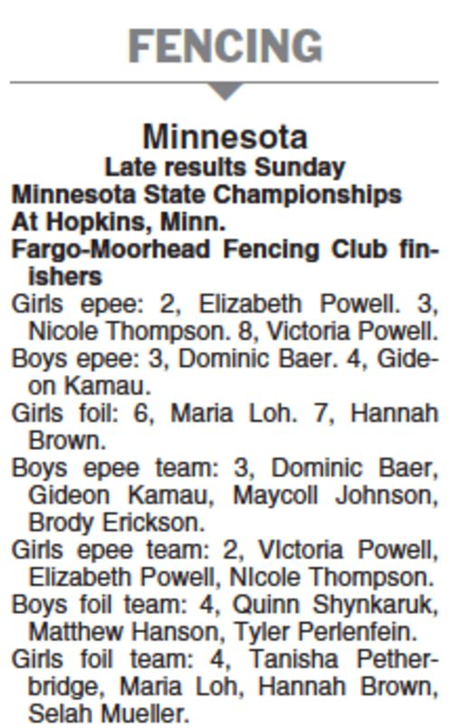MN State Championship Results